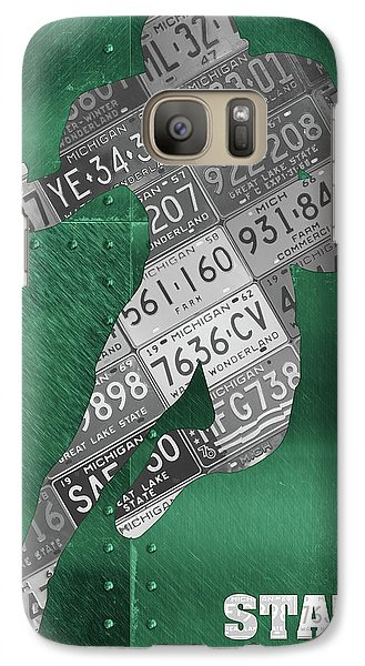 Michigan State Galaxy S7 Case - Michigan State Spartans Running Back Recycled Michigan License Plate Art by Design Turnpike