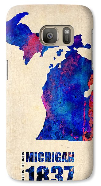 Michigan Watercolor Map Galaxy Case by Naxart Studio