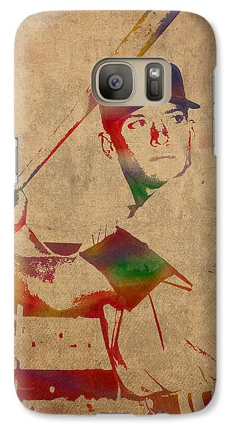 Mickey Mantle New York Yankees Baseball Player Watercolor Portrait On Distressed Worn Canvas Galaxy Case by Design Turnpike