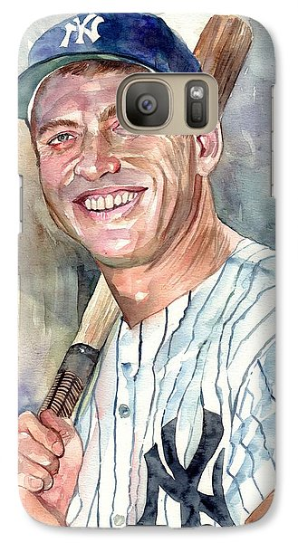 Athletes Galaxy S7 Case - Mickey Mantle Portrait by Suzann's Art