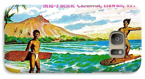 Galaxy Case featuring the painting Mid Pacific Carnival Hawaii Surfing 1915 by Peter Gumaer Ogden