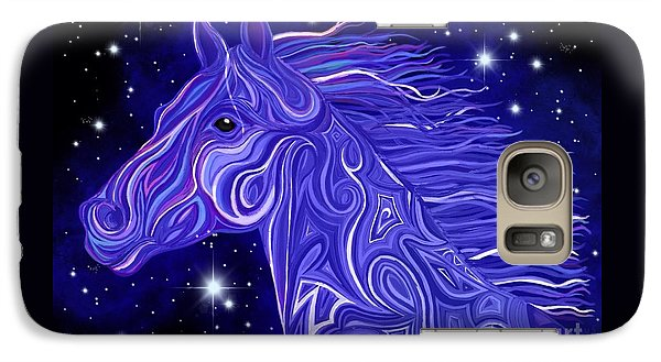 Galaxy Case featuring the drawing Midnight Blue Mustang by Nick Gustafson