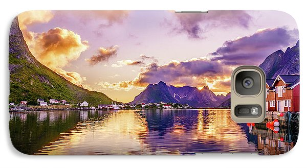 Galaxy Case featuring the photograph Midnight Sun Reflections In Reine by Dmytro Korol