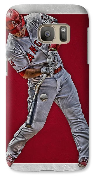 Galaxy Case featuring the mixed media Mike Trout Los Angeles Angels Art 2 by Joe Hamilton