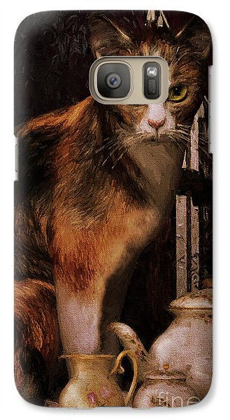 Galaxy Case featuring the digital art Milk No Sugar Calico Cat by Shanina Conway