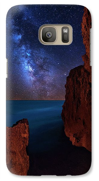 Galaxy Case featuring the photograph Milky Way Over Huchinson Island Beach Florida by Justin Kelefas