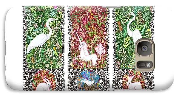 Galaxy Case featuring the drawing Millefleurs Triptych With Unicorn, Cranes, Rabbits And Dove by Lise Winne