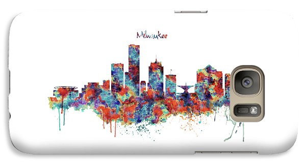 Galaxy Case featuring the mixed media Milwaukee Watercolor Skyline by Marian Voicu