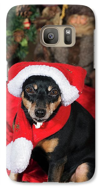 Galaxy Case featuring the photograph Miniature Pinscher Wishing A Merry Christmas by Christian Lagereek