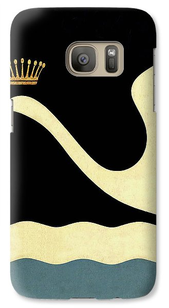 Minimalist Swan Queen Flying Crowned Swan Galaxy Case by Tina Lavoie