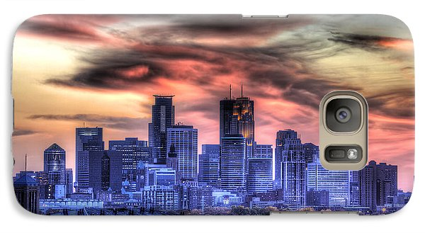 Galaxy Case featuring the photograph Minneapolis Skyline Autumn Sunset by Shawn Everhart