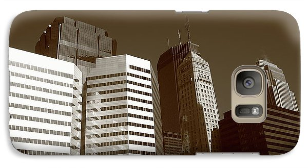 Galaxy Case featuring the photograph Minneapolis Skyscrapers 5 Sepia by Frank Romeo