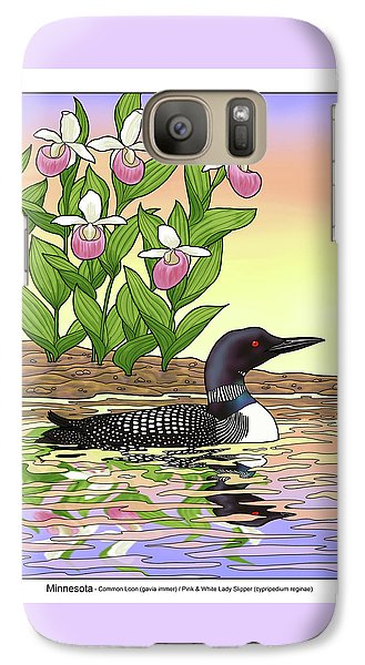 Loon Galaxy S7 Case - Minnesota State Bird Loon And Flower Ladyslipper by Crista Forest