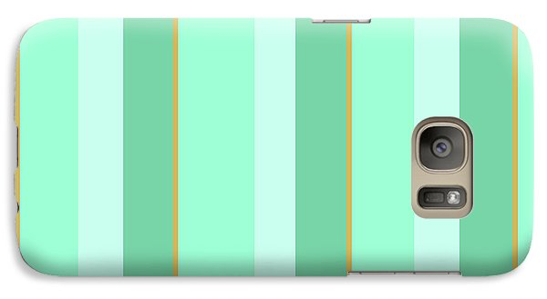 Galaxy S7 Case featuring the mixed media Mint Green Stripe Pattern by Christina Rollo