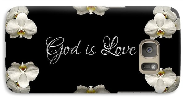 Galaxy Case featuring the photograph Mirrored Orchids Framing God Is Love by Rose Santuci-Sofranko