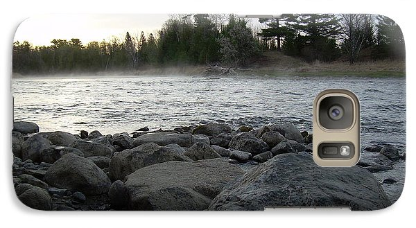 Galaxy Case featuring the photograph Mississippi River Dawn Over The Rocks by Kent Lorentzen