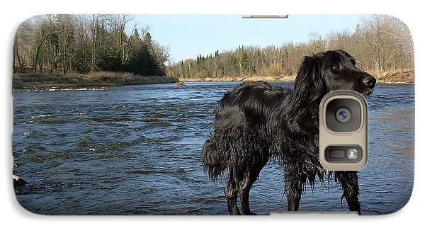 Galaxy Case featuring the photograph Mississippi River Dog On The Rocks by Kent Lorentzen