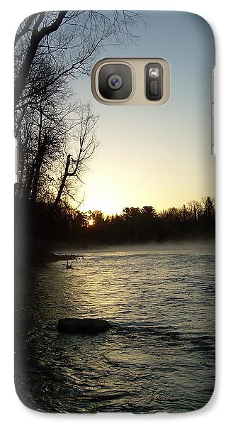 Galaxy Case featuring the photograph Mississippi River Sunrise Shadow by Kent Lorentzen
