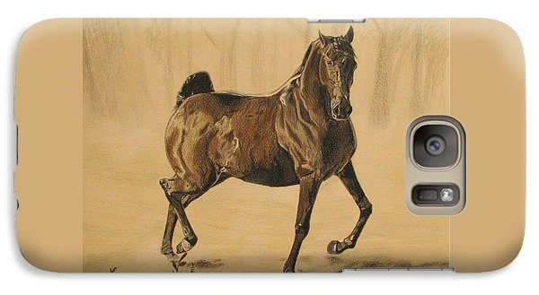 Galaxy Case featuring the drawing Mistical Horse by Melita Safran
