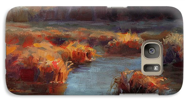 Galaxy Case featuring the painting Misty Autumn Meadow With Creek And Grass - Landscape Painting From Alaska by Karen Whitworth