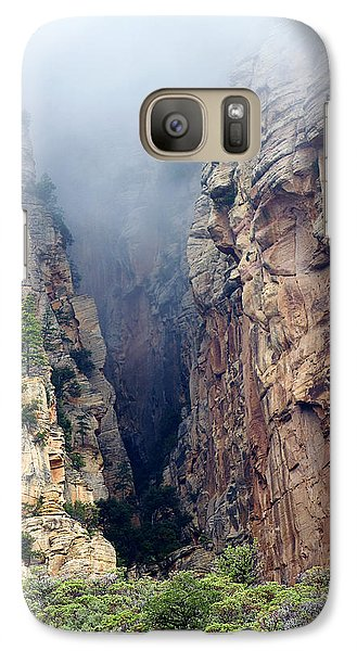 Galaxy Case featuring the photograph Misty Canyons by Phyllis Denton
