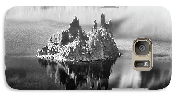 Galaxy Case featuring the photograph Misty Phantom Ship Island Crater Lake B W  by Frank Wilson