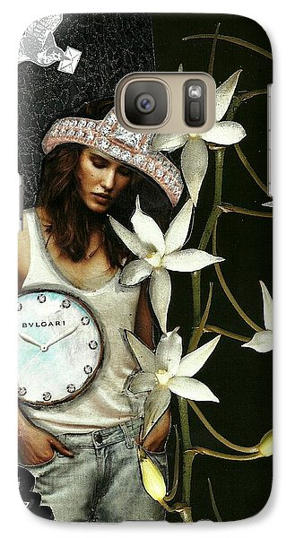 Galaxy Case featuring the mixed media Mixed Media Collage Lost In Thought by Lisa Noneman