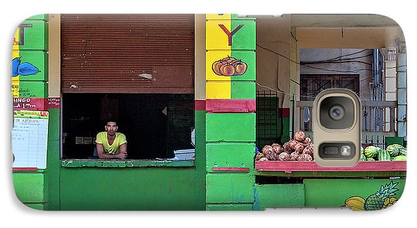 Galaxy Case featuring the photograph Mjay Fruit Stand Havana Cuba by Charles Harden