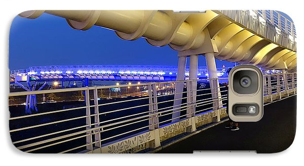 Galaxy Case featuring the photograph Modern Bicycle Overpass By Night by Yali Shi