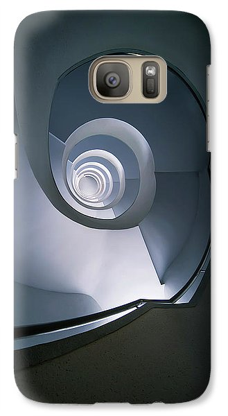 Galaxy Case featuring the photograph Modern Blue Spiral Staircase by Jaroslaw Blaminsky