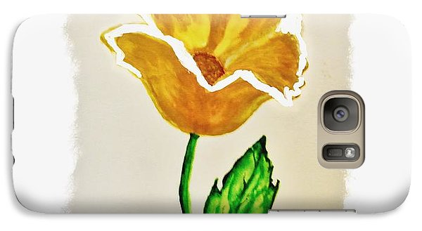 Galaxy Case featuring the painting Modern Gold Flower by Marsha Heiken