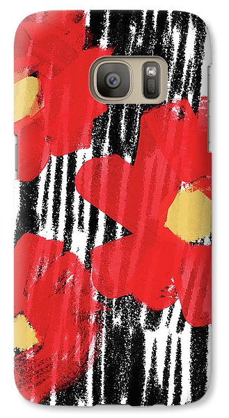 Galaxy Case featuring the mixed media Modern Red Flowers- Art By Linda Woods by Linda Woods
