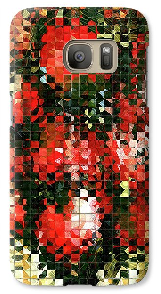 Galaxy Case featuring the painting Modern Red Poppies - Pieces 4 - Sharon Cummings by Sharon Cummings
