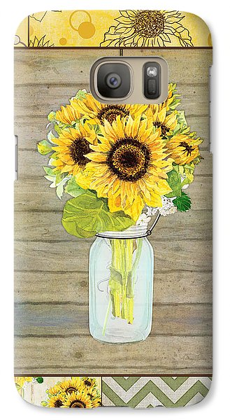 Sunflower Galaxy S7 Case - Modern Rustic Country Sunflowers In Mason Jar by Audrey Jeanne Roberts