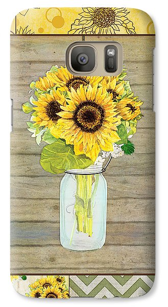 Modern Rustic Country Sunflowers In Mason Jar Galaxy S7 Case by Audrey Jeanne Roberts