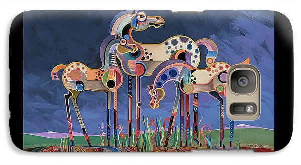 Galaxy Case featuring the painting Mom And Foals by Bob Coonts