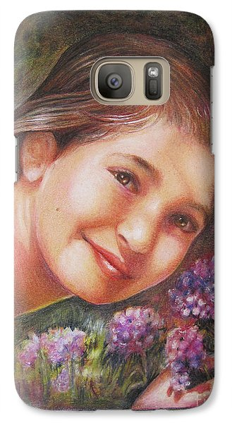 Galaxy Case featuring the painting Mona Lisa's Smile by Patricia Schneider Mitchell