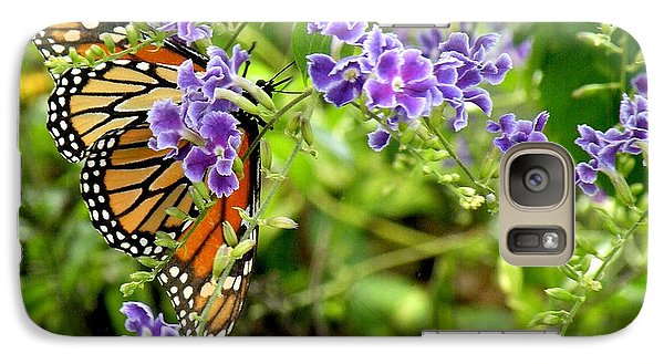 Galaxy Case featuring the photograph Monarch And Purple Flowers by Rosalie Scanlon