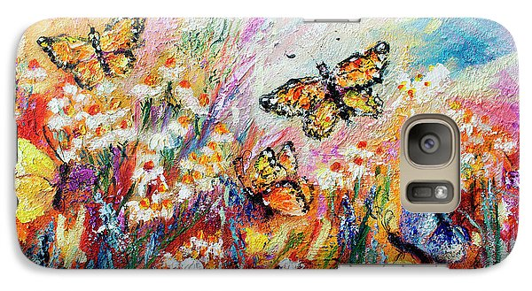 Galaxy Case featuring the painting Monarch Butterflies And Chamomile Flowers by Ginette Callaway