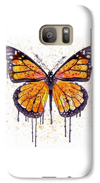 Monarch Butterfly Watercolor Galaxy Case by Marian Voicu