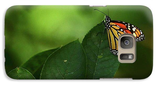 Galaxy Case featuring the photograph Monarch On Leaf by Ann Bridges