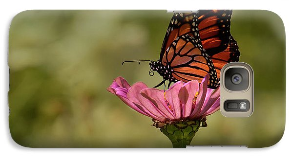 Galaxy Case featuring the photograph Monarch On Pink Zinnia by Ann Bridges