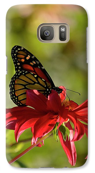 Galaxy Case featuring the photograph Monarch On Red Zinnia by Ann Bridges