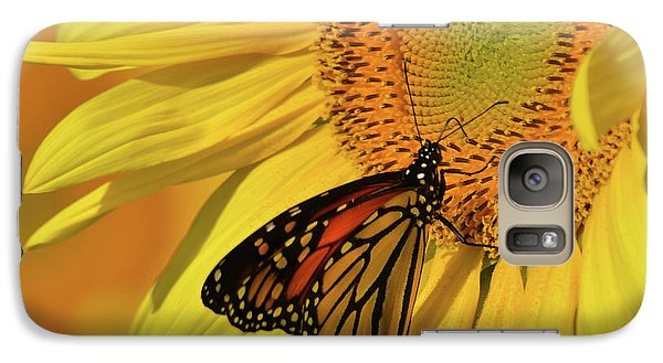 Galaxy Case featuring the photograph Monarch On Sunflower by Ann Bridges