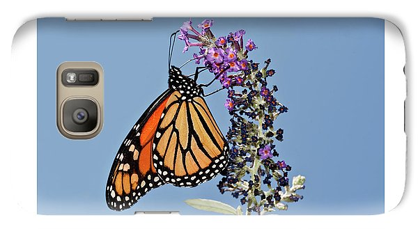 Galaxy Case featuring the photograph Monarch Orange And Blue by Lara Ellis