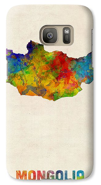 Galaxy Case featuring the digital art Mongolia Watercolor Map by Michael Tompsett