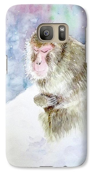 Galaxy Case featuring the painting Monkey In Meditation by Yoshiko Mishina