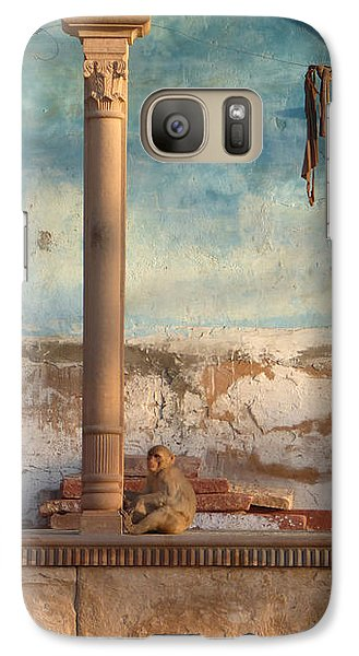 Galaxy Case featuring the photograph Monkeys At Sunset by Jean luc Comperat