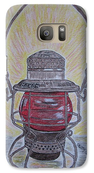 Galaxy Case featuring the painting Monon Red Globe Railroad Lantern by Kathy Marrs Chandler