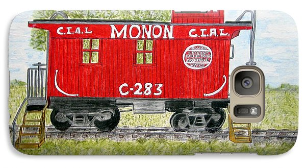 Galaxy Case featuring the painting Monon Wood Caboose Train C 283 1950s by Kathy Marrs Chandler